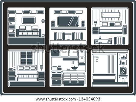 Room interior and objects set. Vector illustration. - stock vector