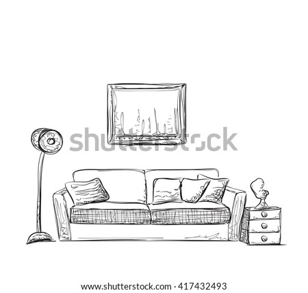 Room interior sketch. Hand drawn sofa and furniture. - stock vector