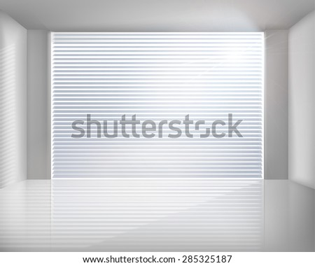 Room with blinds. Vector illustration. - stock vector