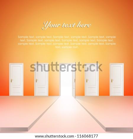 Room with multiple doors. Vector design. - stock vector