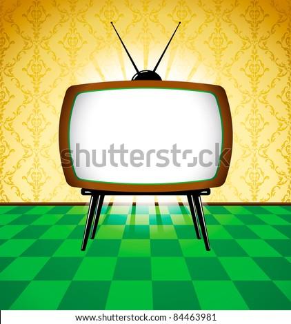 Room with retro tv - stock vector