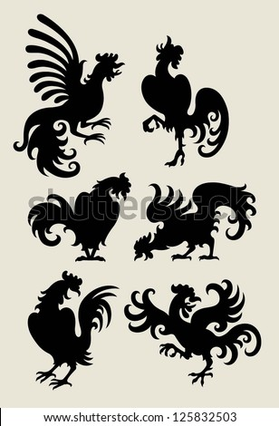 Rooster drawing in black shadow. 6 movement dancing rooster style, use for symbol, logo or any design you want. Easy to change color. - stock vector