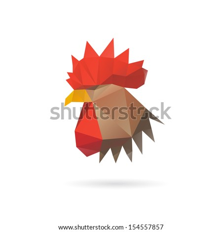 Rooster head abstract isolated on a white backgrounds - stock vector