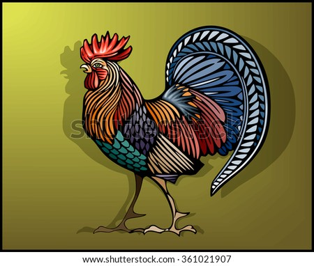 Rooster in color decorative ethnic style - stock vector