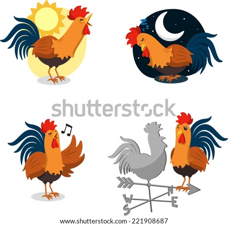 Rooster Set, with Singing Rooster, Sleeping Rooster, Rooster singing at Dawn and Rooster stearing at a Weather-vein Rooster. Vector illustration Cartoon Set - stock vector