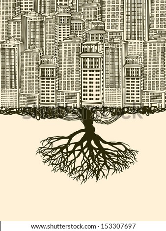 Root of the Big City. - stock vector