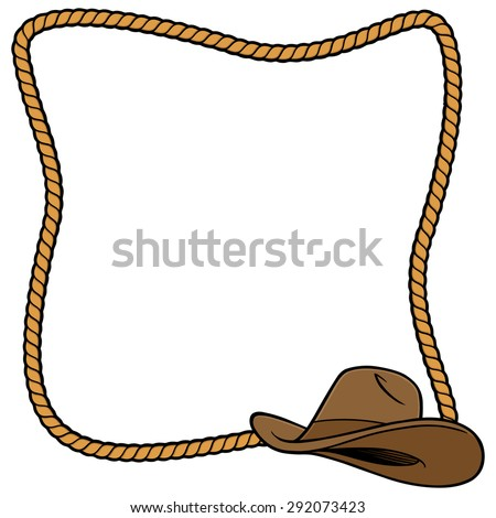 Cowboy Hat Border Rope Frame And Cowboy Hat