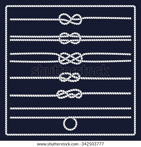 Rope knots collection. Decorative elements. Vector illustration. Marine rope knot. Vector Rope. Set of nautical rope knots, corners and frames. Hand drawn decorative elements in nautical style. - stock vector