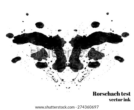 Rorschach test ink blot vector illustration. Psychological test. Silhouette inkblot isolated. Vector  - stock vector
