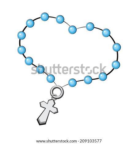Rosary with a cross vector Icon. Vector object on white background. - stock vector