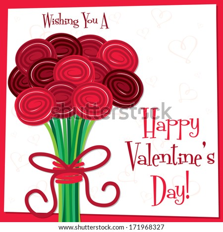 Rose bouquet Valentine's Day card in vector format. - stock vector
