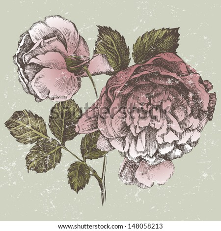 Rose branch in retro style - stock vector