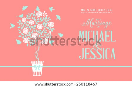 Rose bush icon over red background card with marriage text. Vector illustration. - stock vector