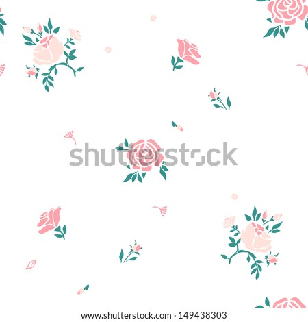 rose floral vector pattern - stock vector