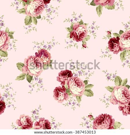 Rose flower pattern - stock vector
