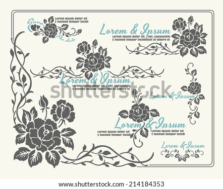 Rose motif Flower,rose border for design - stock vector