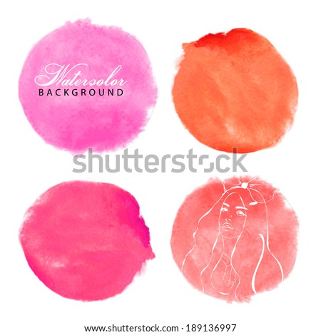 Rose, orange and red watercolor vector circles. - stock vector