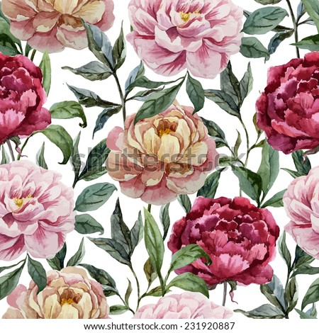rose, peony, pattern - stock vector