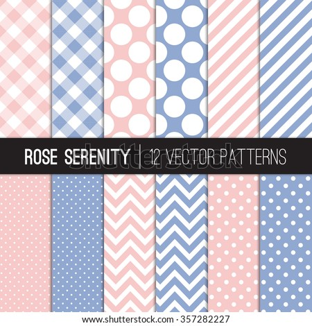Rose Quartz and Serenity Patterns: Gingham, Chevron, Polka Dot and Stripes. 2016 Colors of the Year. Pink Blue Modern Geometric Backgrounds. Vector EPS File Pattern Swatches made with Global Colors. - stock vector