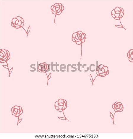 rose seamless pattern floral pink background - stock vector
