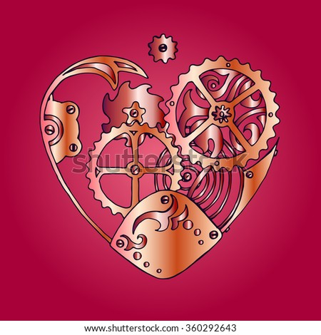 Rose steam punk heart with cogs and tooted wheels in clockwork style, vector design for Saint Valentine's Day - stock vector