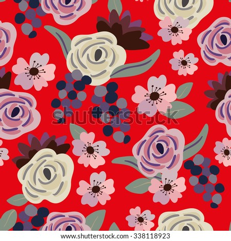Roses and grapes with gray leaves on the red background. Vector seamless pattern with flowers.  - stock vector
