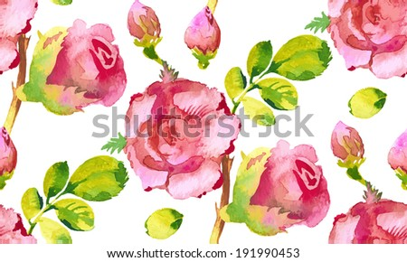 Roses flower watercolor seamless pattern. Vector illustration - stock vector