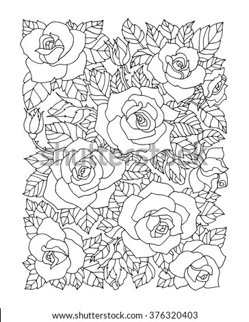 Roses flowers, floral pattern background. Vector artwork. Coloring book page for adult. Love bohemia concept for wedding invitation, card, ticket, branding, boutique logo, label.  Black, white - stock vector