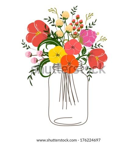 Roses In Jars - stock vector