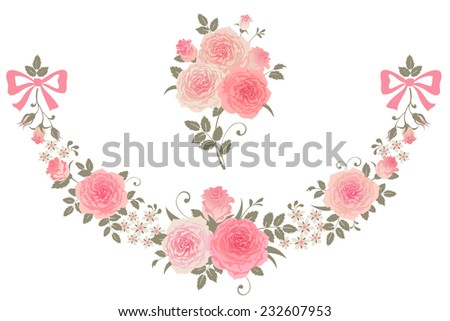 Roses isolated on a white background. Vector floral design elements. - stock vector