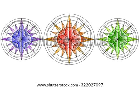 Roses of Wind. Compass. Set of Three Stars - stock vector
