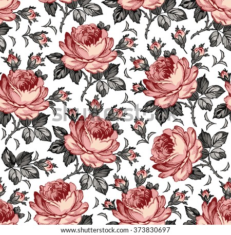 Roses. Seamless classic pattern. Beautiful pink flowers. Vintage background blooming realistic flowers. Drawing, engraving textile. Freehand. Wallpaper baroque. Vector Victorian style Illustration. - stock vector