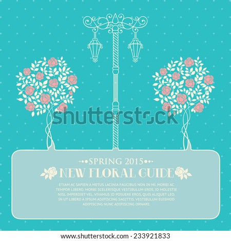 Roses trees and street light over blue backgrond with template text. Vector illustration. - stock vector
