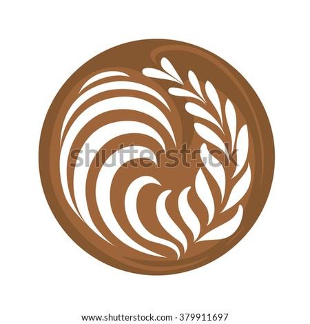 Rosetta Coffee Latte Art Logo, Icon, Symbol Vector white background - stock vector