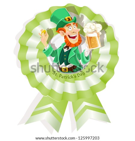 Rosette on St. Patrick's Day with Leprechaun with beer - stock vector