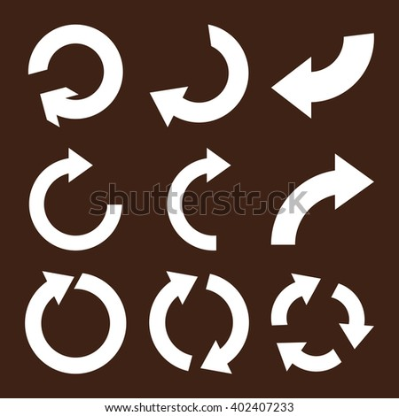 Rotate Clockwise vector icon set. Collection style is white flat symbols on a brown background. Rotate Clockwise icons. - stock vector