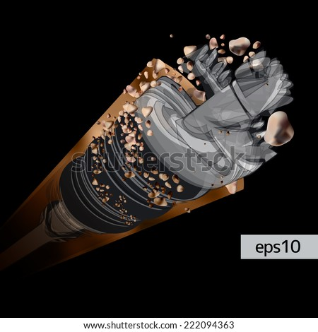 Rotating drill digging a hole in a ground isolated on a black background - vector illustration - stock vector