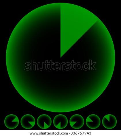 Rotating empty radar screen or sonar display. Segmented circles with thin slices. - stock vector