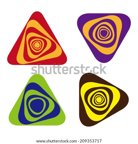 Rotating triangles logo, full of feeling dizzy. Design abstract vector logo template. You can use in the dizzy and wave concept of pattern - stock vector