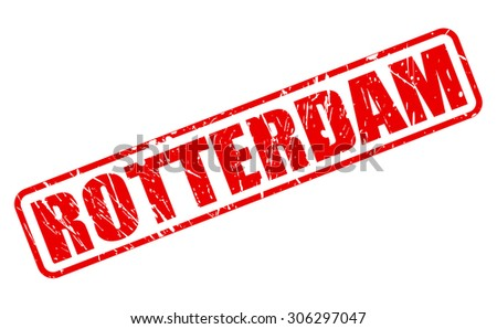 ROTTERDAM red stamp text on white - stock vector