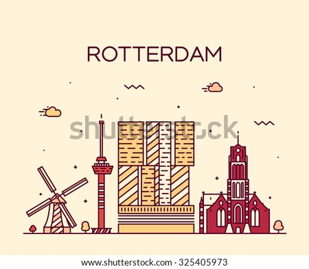 Rotterdam skyline, detailed silhouette. Trendy vector illustration, linear style - stock vector
