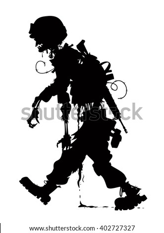 rotting zombie soldier  - stock vector