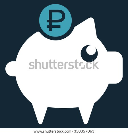 Rouble Piggy Bank vector icon. Style is bicolor flat symbol, blue and white colors, rounded angles, dark blue background. - stock vector