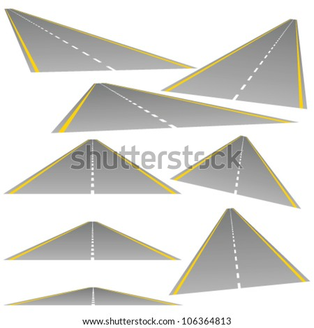 roud from multiple perspectives on white background - stock vector