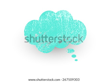 Rough Grunge Think Bubble - stock vector
