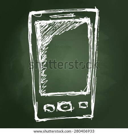Rough hand drawn sketch of a mobile phone - stock vector