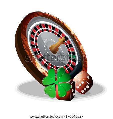 roulette and slot bones vector - stock vector