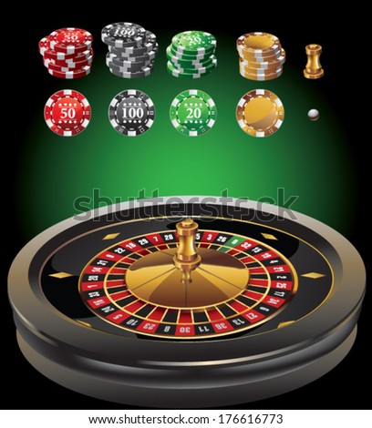 roulette casino elements - stock vector