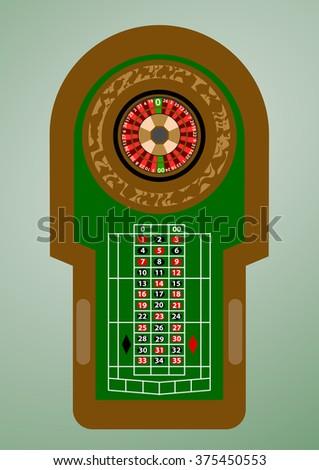 roulette casino flat - stock vector