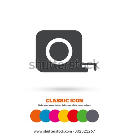 Roulette construction sign icon. Tape measure symbol. Classic flat icon. Colored circles. Vector - stock vector